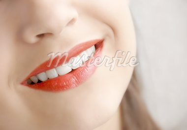 young girl beautiful red lips smiling closeup Stock Photo - Royalty-Free, Artist: simply                        , Code: 400-04919109