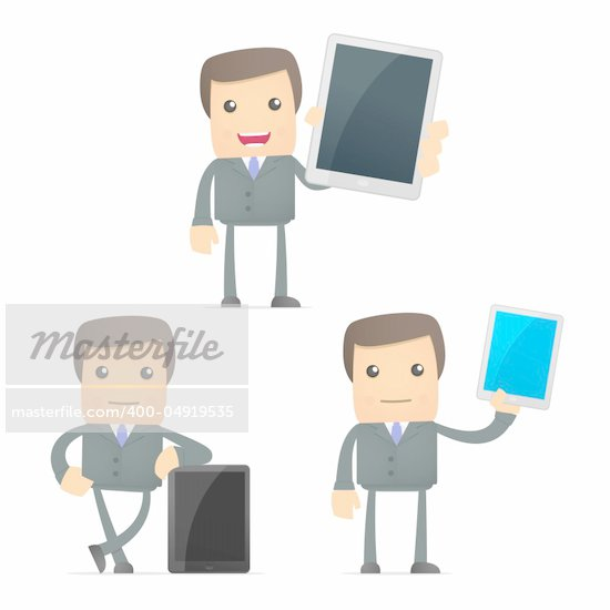 set of funny cartoon businessman in various poses for use in presentations, etc. Stock Photo - Royalty-Free, Artist: artenot                       , Code: 400-04919535