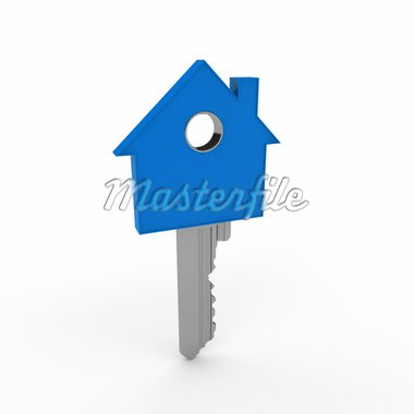 3d home key blue house metal security Stock Photo - Royalty-Free, Artist: dak                           , Code: 400-04919989