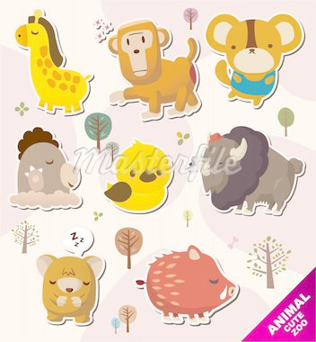 cartoon animal Stickers icons Stock Photo - Royalty-Free, Artist: notkoo2008                    , Code: 400-04920139