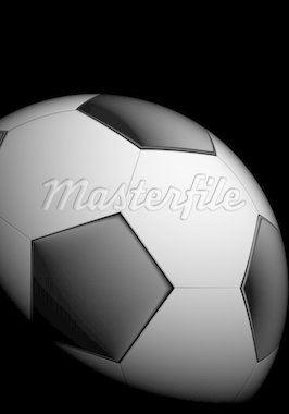 Realistic soccer ball on black background Stock Photo - Royalty-Free, Artist: dvarg                         , Code: 400-04920261