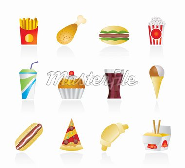 fast food and drink icons - vector icon set Stock Photo - Royalty-Free, Artist: stoyanh                       , Code: 400-04921531