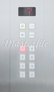 7 floor on elevator buttons Stock Photo - Royalty-Free, Artist: pariwatlp                     , Code: 400-04925306