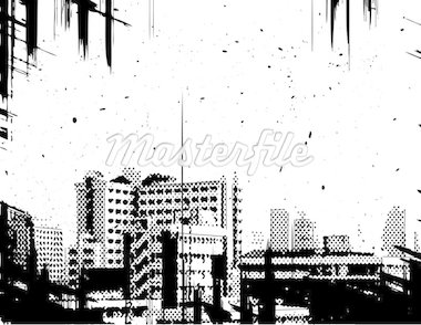 Vector halftone design of a city skyline with grunge on separate layers Stock Photo - Royalty-Free, Artist: tawng                         , Code: 400-04943297