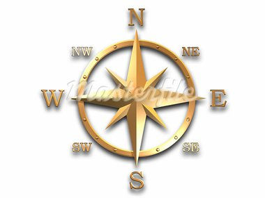 compass, wind rose in gold material isolated on white, with clipping path inclused Stock Photo - Royalty-Free, Artist: 3000ad                        , Code: 400-04977653