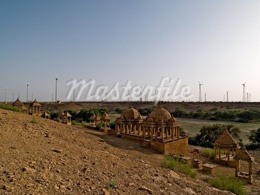 windfarm and cenotaphs in india Stock Photo - Royalty-Free, Artist: micl                          , Code: 400-04978505