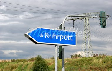 Autobahn direction sign Ruhrpott (Ruhr area, also called Revier or Pott) - the Ruhrgebiet, especially the biggest city Essen, is the european culture capital in 2010 (RUHR.2010 - Kulturhauptstadt Europas) with attractions like Zecke Zollverein or Gasometer Oberhausen. Here are living 5 million people. The Ruhr area had been a big mining area and is now arranged in change. Stock Photo - Royalty-Free, Artist: anweber                       , Code: 400-04997517
