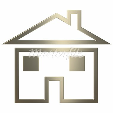 3d gold home icon over white background Stock Photo - Royalty-Free, Artist: Superdumb                     , Code: 400-05001720