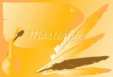 Two Quill and an ink bottle Stock Photo - Royalty-Free, Artist: maadesigns                    , Code: 400-05042441