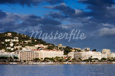 Picture of the city of Cannes showing a part of the famous Croisette Stock Photo - Royalty-Free, Artist: akarelias                     , Code: 400-05046326