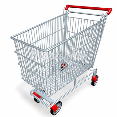 empty shopping cart of supermarket or mall Stock Photo - Royalty-Free, Artist: sgame                         , Code: 400-05055972