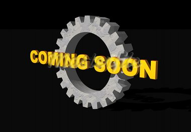 coming soon text and gearwheel on black background - 3d illustration Stock Photo - Royalty-Free, Artist: drizzd                        , Code: 400-05080604