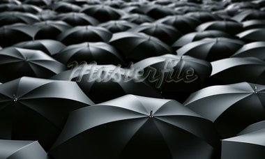 3d rendering of a sea of umbrellas Stock Photo - Royalty-Free, Artist: zentilia                      , Code: 400-05096911