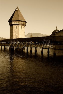 The Chapel Bridge and Lake Lucerne, in the city of Lucerne, Switzerland.  Stock Photo - Royalty-Free, Artist: sumners                       , Code: 400-05101484
