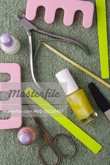 pedicure beauty set on towel background Stock Photo - Royalty-Free, Artist: marylooo                      , Code: 400-05120457