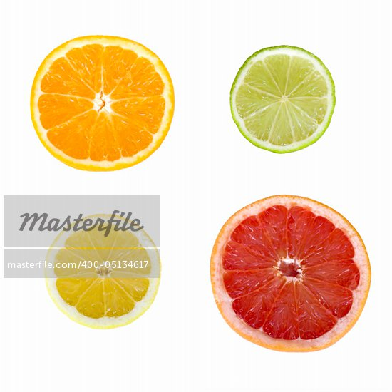 Citrus fruit slices isolated on white background Stock Photo - Royalty-Free, Artist: iko                           , Code: 400-05134617