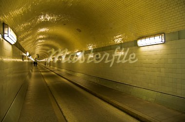 illuminated old tunnel under the Elbe in Hamburg Stock Photo - Royalty-Free, Artist: Jule_Berlin                   , Code: 400-05159370