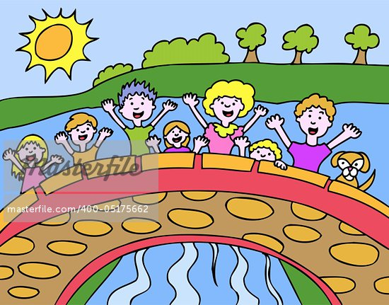 Children wave from a bridge in the park. Stock Photo - Royalty-Free, Artist: cteconsulting                 , Code: 400-05175662