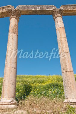 Ancient columns with blue sky in Jerash, Jordan Stock Photo - Royalty-Free, Artist: willi1972                     , Code: 400-05190535