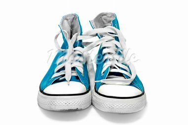 a pair of blue sneakers isolated on a white background Stock Photo - Royalty-Free, Artist: nito                          , Code: 400-05215647