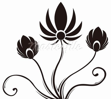 drawing of black flower pattern in a white background Stock Photo - Royalty-Free, Artist: bluesee                       , Code: 400-05235216