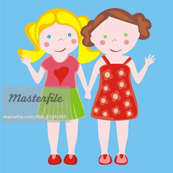 fully editable vector illustration of two little girls waving