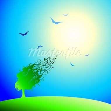 abstract landscape with tree, this illustration may be useful as designer work Stock Photo - Royalty-Free, Artist: Lady_Aqua                     , Code: 400-05245768