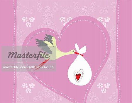 Newborn girl greeting card vector illustration
