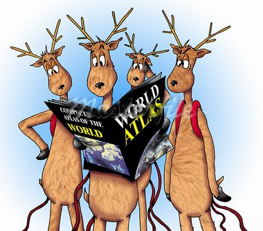 A group of lost reindeer consulting a World Atlas. Stock Photo - Royalty-Free, Artist: srsallay                      , Code: 400-05279215
