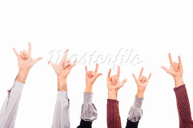 Hands Raised Up with Rock And Roll Sign Stock Photo - Royalty-Free, Artist: William87                     , Code: 400-05285053