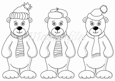 Teddy bears in winter cap and scarf, friends, contours Stock Photo - Royalty-Free, Artist: alexcoolok                    , Code: 400-05290877