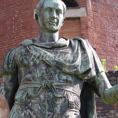 Roman statue of Iulius Caesar in front of roman walls Stock Photo - Royalty-Free, Artist: claudiodivizia                , Code: 400-05301117