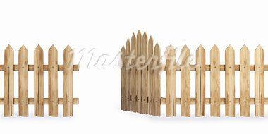 wooden fence with a gate isolated on white including clipping path Stock Photo - Royalty-Free, Artist: dimdimich                     , Code: 400-05302539