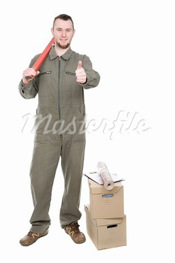 young adult worker over white background Stock Photo - Royalty-Free, Artist: netris                        , Code: 400-05323303