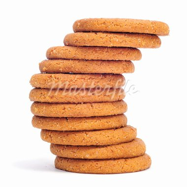 a pile of ginger biscuits on a white background Stock Photo - Royalty-Free, Artist: nito                          , Code: 400-05332728