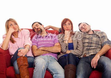 Bored Girls while Man Sleeping on Sofa Stock Photo - Royalty-Free, Artist: William87                     , Code: 400-05333825
