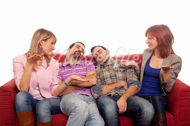 Girls Laughing while Boys Sleep on Sofa Stock Photo - Royalty-Free, Artist: William87                     , Code: 400-05333827