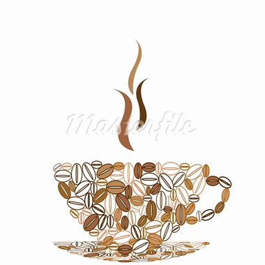 Cup of coffee made of coffee beans Stock Photo - Royalty-Free, Artist: hibrida13                     , Code: 400-05336077