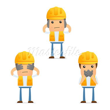 set of funny cartoon builder in various poses for use in presentations, etc. Stock Photo - Royalty-Free, Artist: artenot                       , Code: 400-05341954