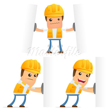 set of funny cartoon builder in various poses for use in presentations, etc. Stock Photo - Royalty-Free, Artist: artenot                       , Code: 400-05341974