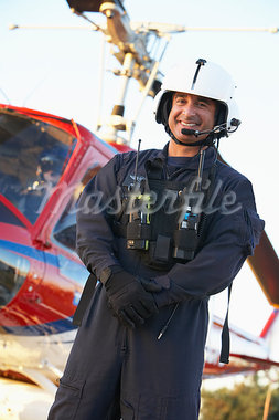Portrait of paramedic standing in front of Medevac Stock Photo - Royalty-Free, Artist: MonkeyBusinessImages          , Code: 400-05343078