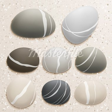Sea stones collection on sand background. Vector illustration. Stock Photo - Royalty-Free, Artist: avian                         , Code: 400-05348761
