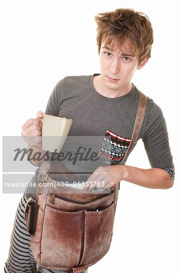 Teen with messenger bag and mug over white background Stock Photo - Royalty-Free, Artist: creatista                     , Code: 400-05353783