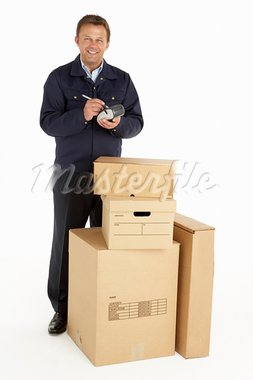 Courier Delivering Parcels Stock Photo - Royalty-Free, Artist: MonkeyBusinessImages          , Code: 400-05354746