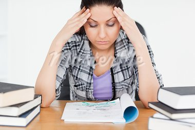An exhausted student is trying to learn Stock Photo - Royalty-Free, Artist: 4774344sean                   , Code: 400-05357561
