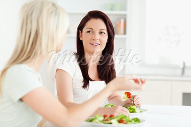 Portrait of young Women eating salad in a kitchen Stock Photo - Royalty-Free, Artist: 4774344sean                   , Code: 400-05357660