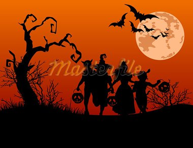 Halloween background with silhouettes of children trick or treating in Halloween costume Stock Photo - Royalty-Free, Artist: Dazdraperma                   , Code: 400-05358415