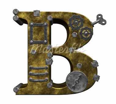 steampunk letter b on white background - 3d illustration Stock Photo - Royalty-Free, Artist: drizzd                        , Code: 400-05358897