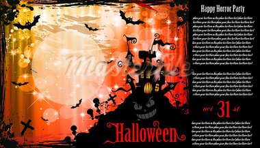 Suggestive Halloween Party Flyer for Entertainment Night Event with a lot of space for your text.and an horror caslte in the background Stock Photo - Royalty-Free, Artist: DavidArts                     , Code: 400-05358915