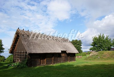 Wooden shed with a roof from a cane Stock Photo - Royalty-Free, Artist: kolyvanov                     , Code: 400-05359186